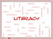 Literacy Word Cloud Concept On A Whiteboard