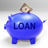 Loan Piggy Bank Means Money Loaned And Financing
