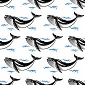 foto of whale-tail  - Swimming whale seamless pattern with a baleen whale amongst ocean waves in square format for nautical themed wallpaper or fabric design - JPG