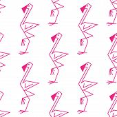 image of pink flamingos  - Cute line drawing of a pink flamingo background seamless pattern with a repeat motif in square format suitable for textile or background design - JPG