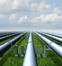 foto of gases  - Gas pipeline concept as a group of three dimensional metal pipes transporting liquids and fuel energy gases and petroleum oil products as a symbol of distribution and transportation of power commodities - JPG