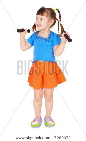 Girl In Dress With Dumbbells In Hands On White Background