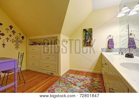 Kids Bathroom Interior With Storage Cabinet And Table