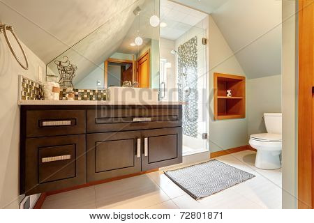 Bathroom With Vautled Ceiling And Glass Door Shower