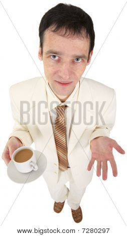 Young Man In White Suit With Coffee