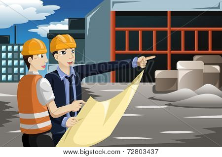 Architect Working At The Construction Site