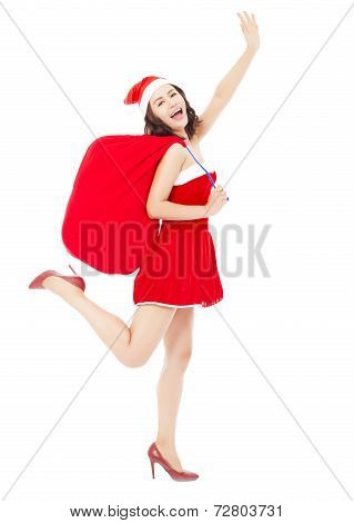Young Female Holding A Gift Bag With Christmas Suit Running And Delivery