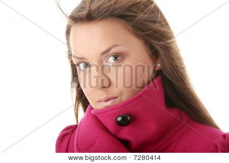 Teen Woman In Pink Female Coat