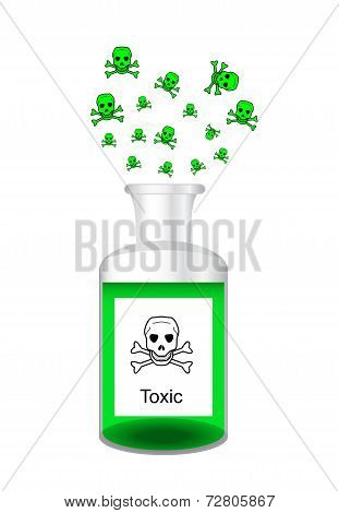 Chemical Bottle With Steamy Toxic Poisonous Solution
