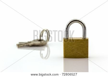 Key And Lock On White Background.