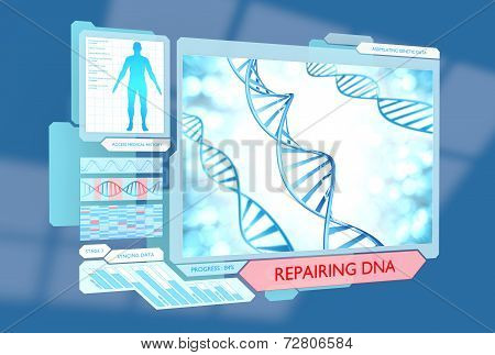 Science concept of DNA repair via new advanced medical technology