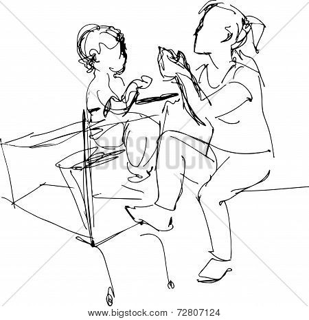 Mother Sitting On A Bench In A Baby Basket Supermarket