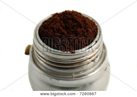 Coffee Powder In A Typical  Italian Coffee Machine