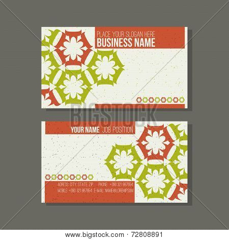 Business Card Template. Floral, Green And Orange Colors