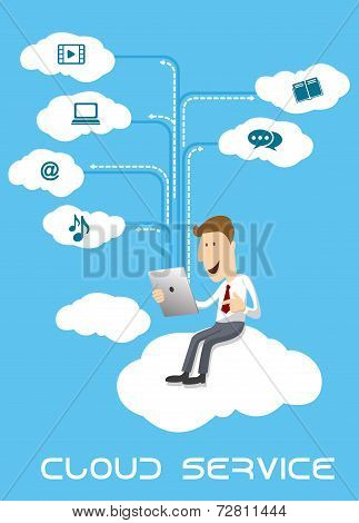 Businessman using tablet pc on cloud service
