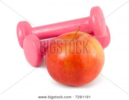 Two Dumbbells And Apple