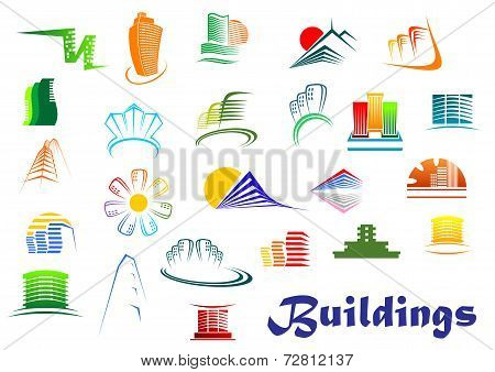 Office and apartments buildings icons