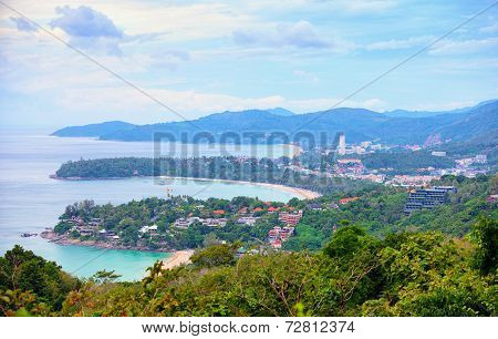 View To The Few Beaches Of Phuket From High Viewpoint