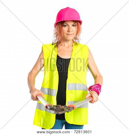 Worker Woman With Scissors Mower Over White Background