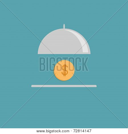 Silver Platter Cloche And Gold Dollar Coin