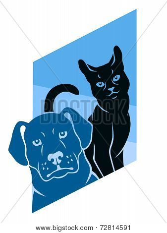 Abstract Cat And Dog