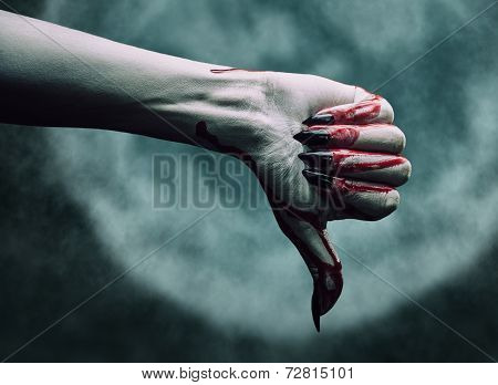 Vampire Bloody Hand Shows Thumb Down Gesture