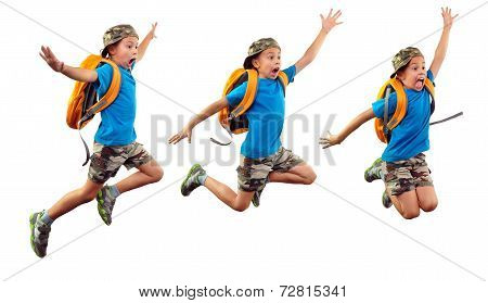 Isolated Sequence Of Child Jumping, Running To School