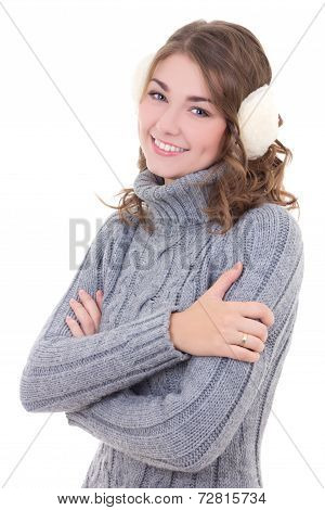Attractive Woman In Woolen Sweater And Muffs Isolated On White