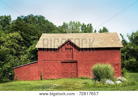 Red Barn and Pampas Grass