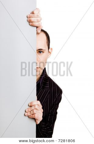 Businessman Showing Something