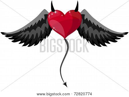 Devilish Heart With Horns And Wings