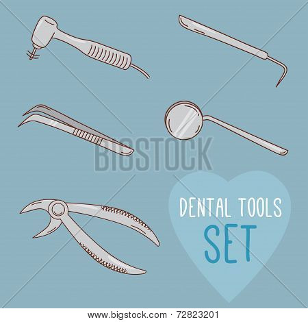 Set of vector dental tools. Cartoon style.