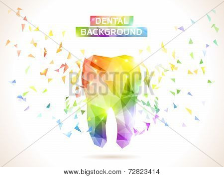 Polygonal turquoise vector tooth. Abstract illustration.