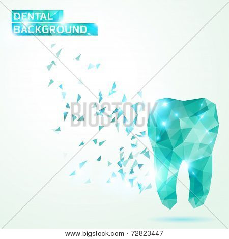 Polygonal turquoise vector tooth.
