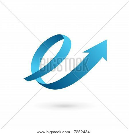 Letter E arrow loop logo icon