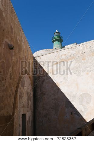 Green Lighthouse (castello Maniace In Syracuse, Ortygia, Sicily)