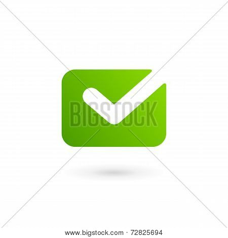 E-mail envelope tick logo icon design template. Vector sign.