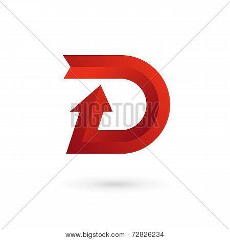 Letter D arrow ribbon logo icon design template elements. Vector color sign.