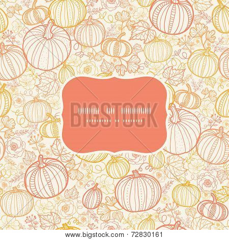Vector thanksgiving line art pumkins frame seamless pattern background