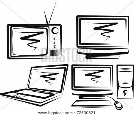 Illustration with a set of computers and TV-sets