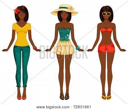Girls in summer clothes. Vector illustration.