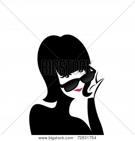 Young woman in sunglasses. Vector illustration.
