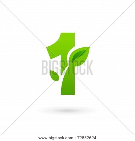 Number one 1 eco leaves logo icon design template elements. Vector color sign.