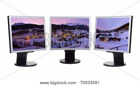 Mountains Ski Resort Solden Austria Panorama In Computer Screens