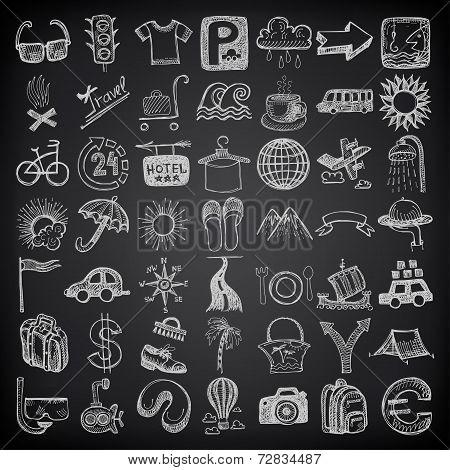 49 hand drawing doodle icon set, travel theme on black backgraun