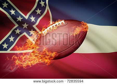 American Football Ball With Flag On Backround Series - Mississippi