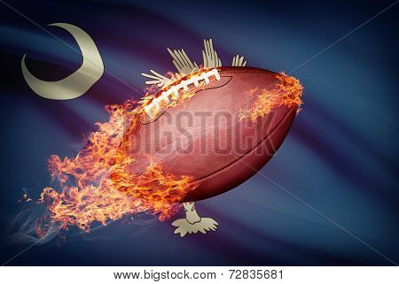 American Football Ball With Flag On Backround Series - South Carolina