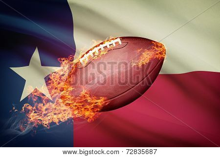 American Football Ball With Flag On Backround Series - Texas