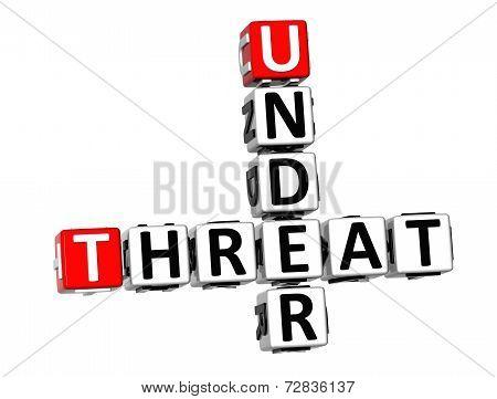 3D Crossword Under Threat On White Background