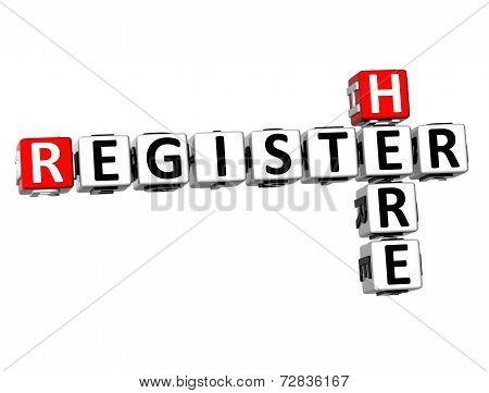 3D Crossword Register Here On White Background